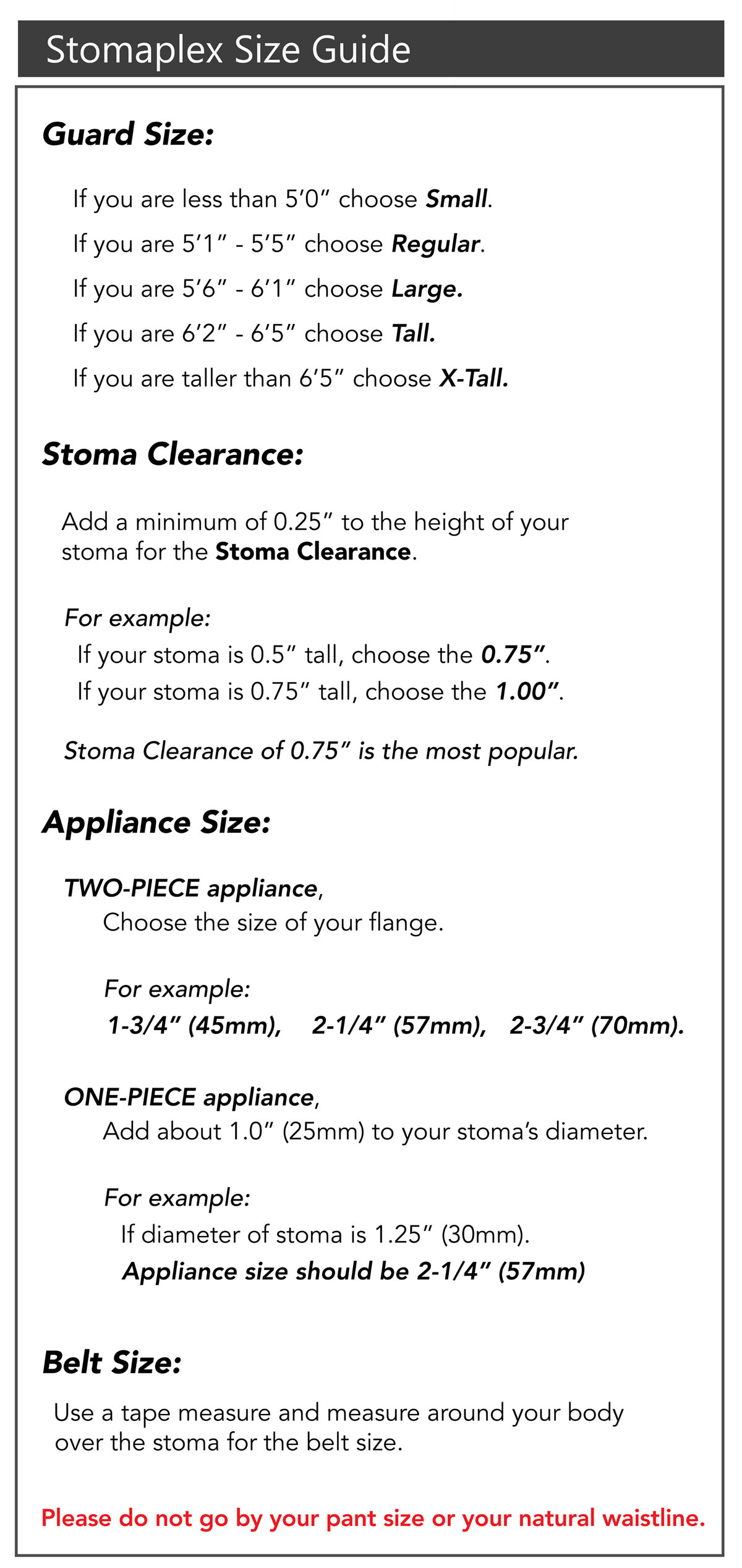 Stoma Size Chart, How to measure for the Stomaplex Ostomy Belt