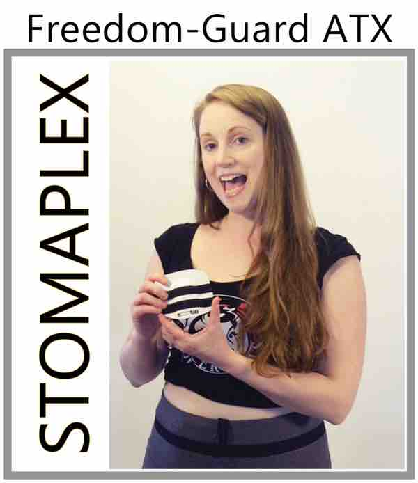 Ostomy Support Belt for Women in Sports, women in tight pants reviews stomaplex stoma guard, women wear ostomy belt, watch ostomy product review video