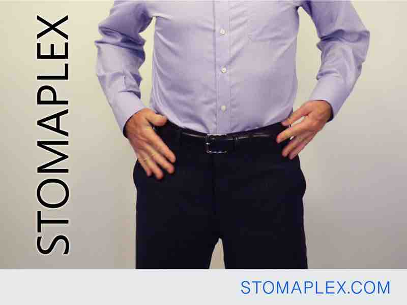 mens ostomy clothing, stomaplex stoma guard is hidden under his pants with no stoma dome