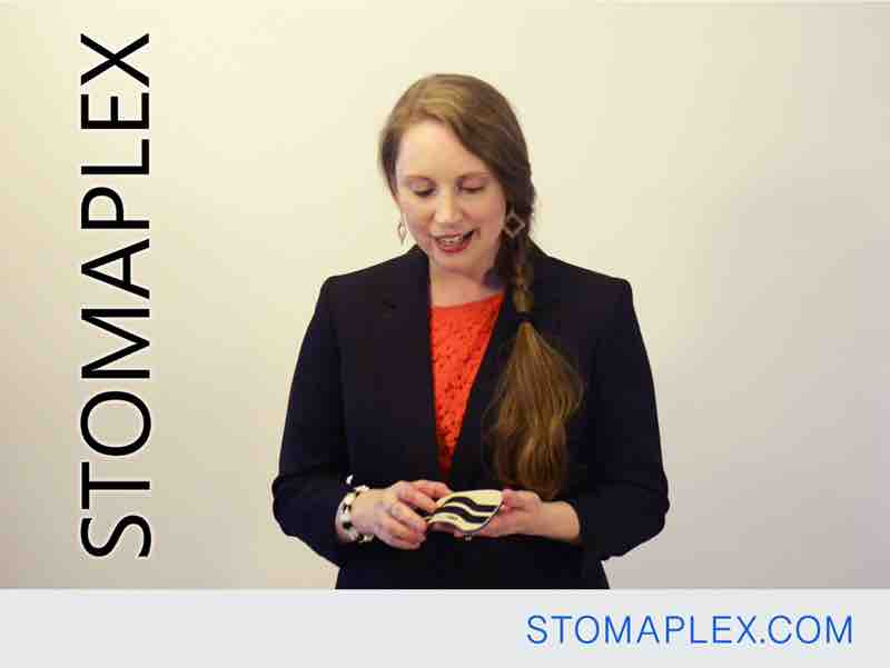 stomaplex stoma guard has a unique shape that protects the stoma of an ileostomy with a low profile design that women like for ostomy protection