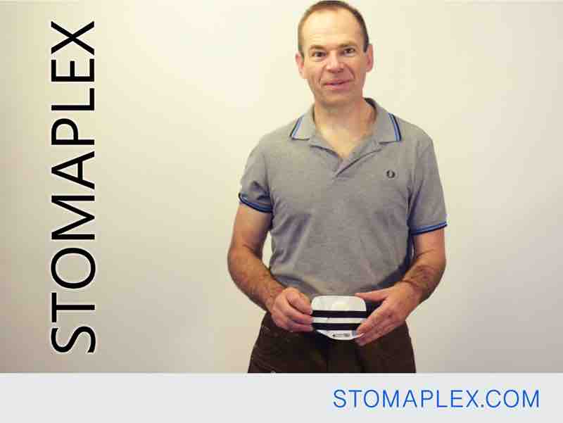 stoma guard for men in blue jeans who need help with clothing, ostomy belt by stomaplex