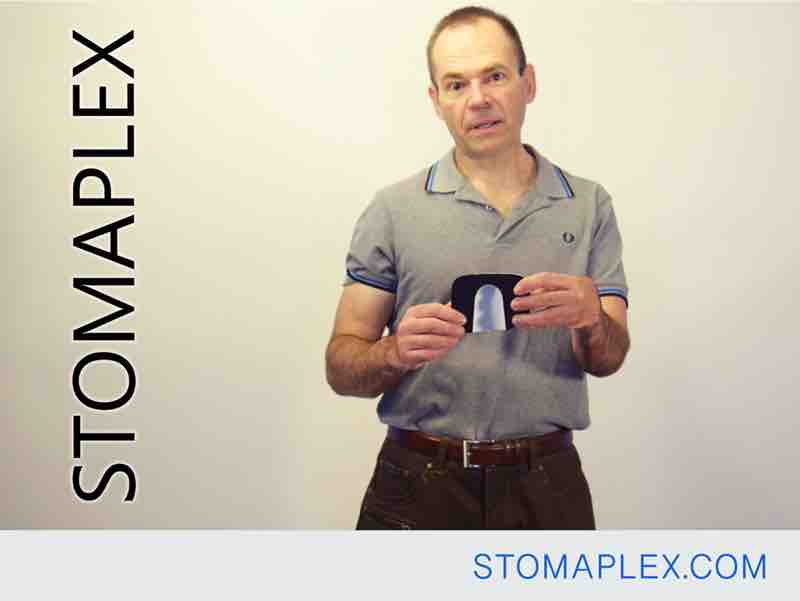 stomaplex stoma guard has a channel that allows for free flow of stoma output into the bottom of the ostomy pouch