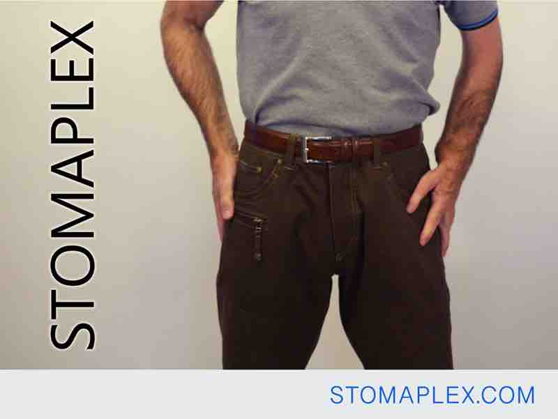 stomaplex stoma guard for ostomy protection helps men tuck in their shirts into their pants, bag support belt