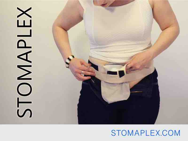stoma guard is tightened with the lower strap of the ostomy belt by stomaplex, stomaplex stoma guards are easy to put on and wear for ostomy protection