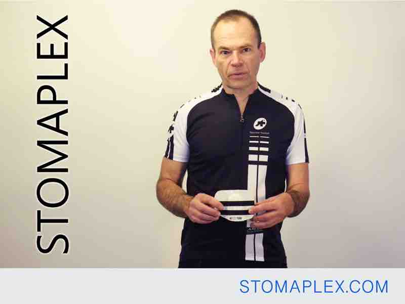 this stoma guard for ostomy protection will work for swimming and bicyling and other sports, stoma guard with parastomal hernia support belt by stomaplex