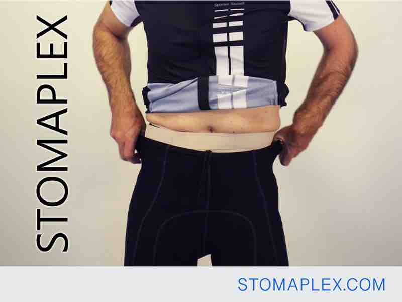 stomaplex stoma guard protects this man in bike shorts with ileostomy and parastomal hernia support belt by stomaplex
