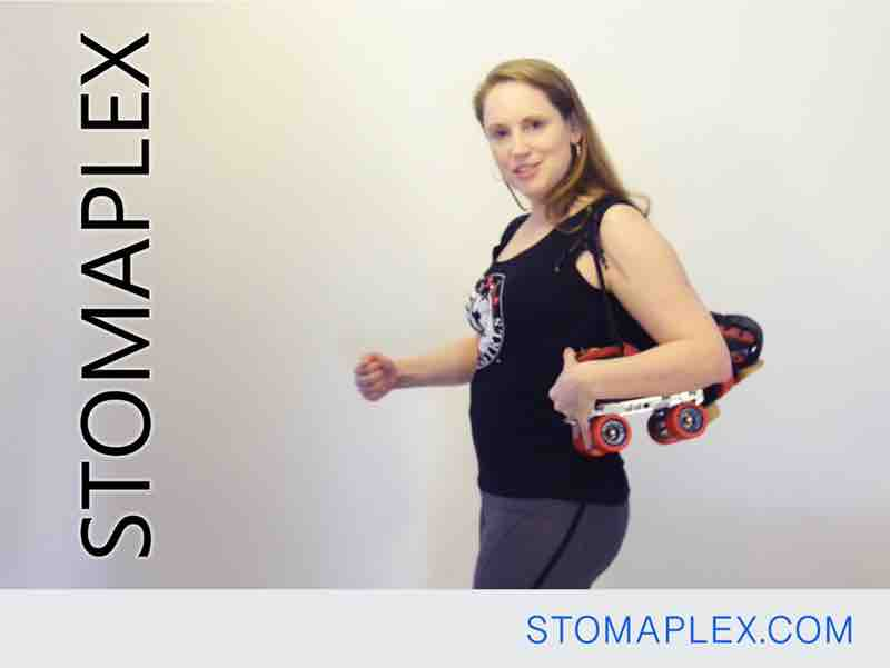 she is an active women with an ileostomy who wears the stomaplex stoma guard for ileostomy protection