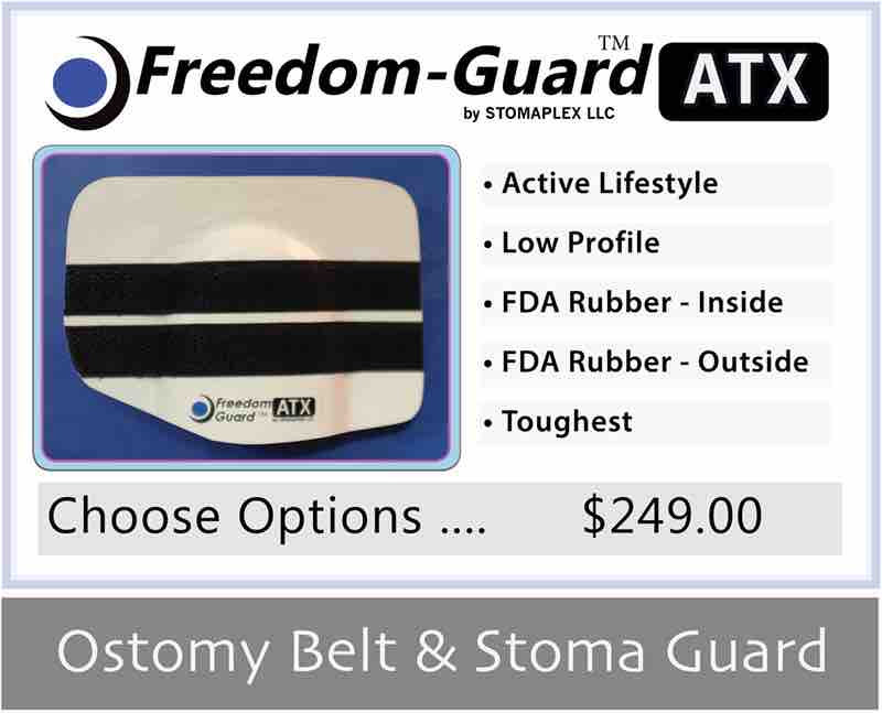 Stoma guard for swimming. At the pool, wear the ATX for stoma protectiom. The rubber coating on the guard will stay dry.