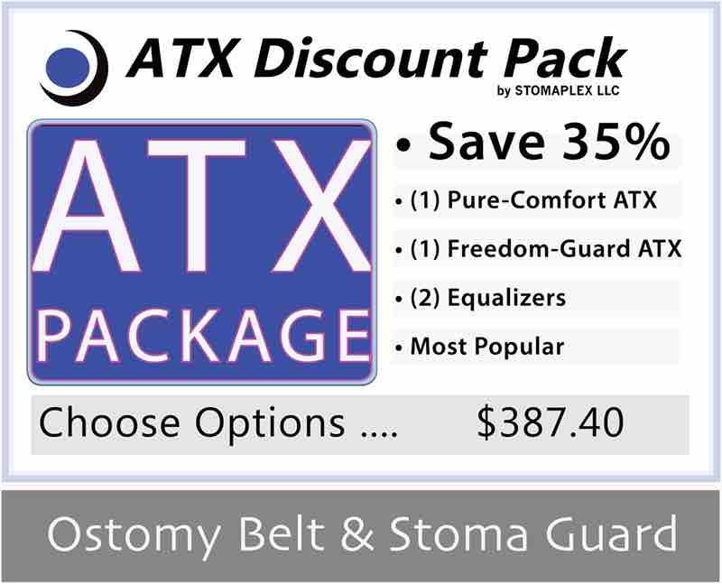 Ostomy belt and stoma guard discount package. order two stomaplex stoma guards and get a discount. the ostomy package includes two equalizers to stop ostomy leaks