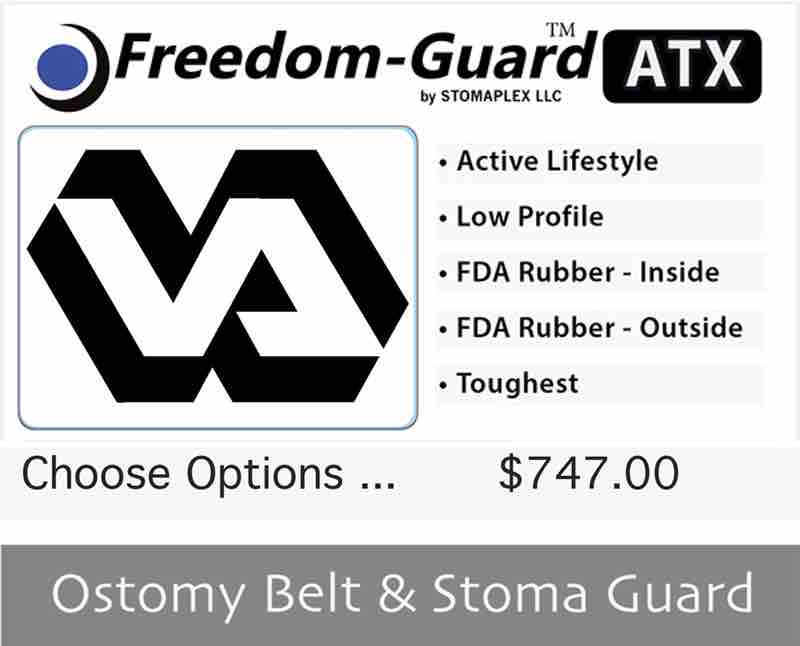Veterans ostomy belt with stoma guard available as a three pack. ostomy protection for veterans helps prevent parastomal hernias.